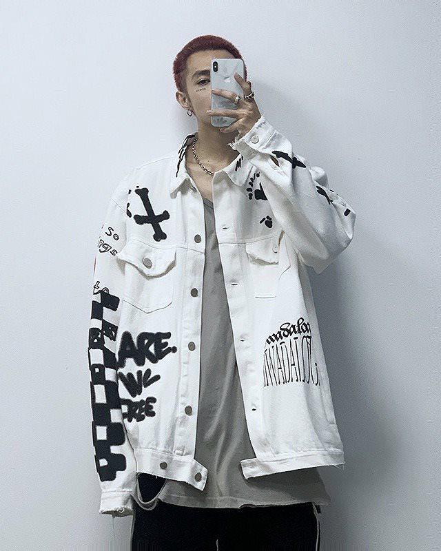 グラフィティペイントデニムシャツジャケットの画像1